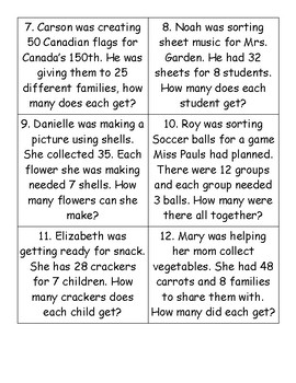 Division Centre Word Problems