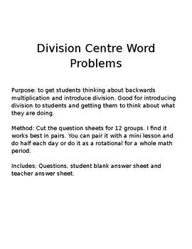 Division Centres EDIT QUESTIONS!