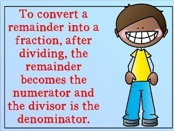 Division with Remainders - Changing Remainders to Fractions Power Point