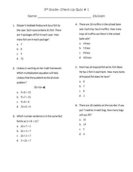 Division Check Up Quiz #1