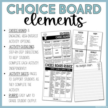 Division Choice Board with Activity Sheets