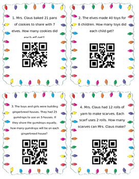 Division Christmas Word Problems QR Task Cards