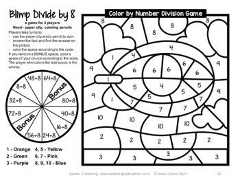 Division Color by Number: Division Games for Division Fluency