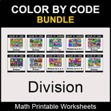 Division - Color by Number - Math Coloring Worksheets - BUNDLE