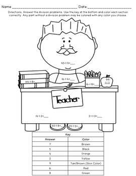 Division Coloring Pages: Back to School