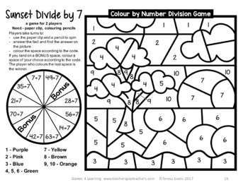 Division Colour by Number Games [Australian UK NZ Canadian Version]