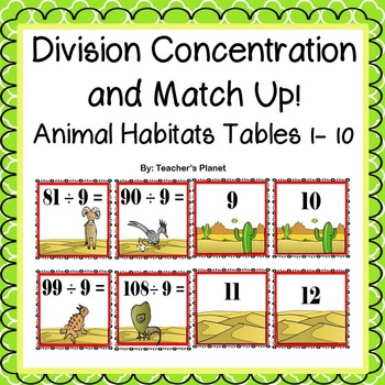 Division Games - Concentration and Match Up - Animal Habitats!