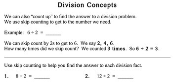 Division Concepts, 2nd grade - Individualized Math - worksheets