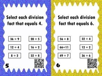 Division Concepts Task Cards with QR Codes- Set 2