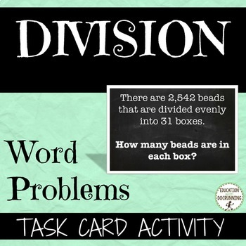 Division Word Problem Task Card Activity