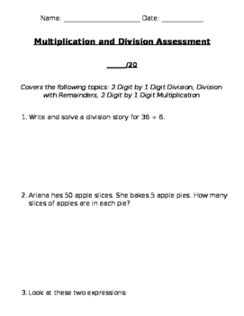 Division, Division with Remainders, 2 Digit by 1 Digit Multiplication