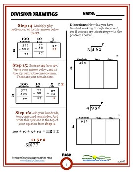Division Drawings Rectangular Area Model for Long Division (Worksheets)(Games)
