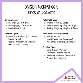 Division Pre-Assessment Worksheets, Drills And Practice Sheets