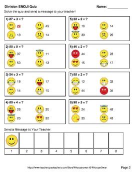 Division Emoji Quiz (2-Digit by 1-Digit)