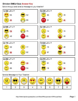 Division Emoji Quiz (3-Digit by 1-Digit)