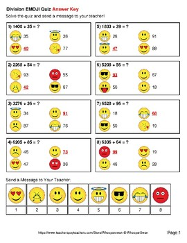 Division Emoji Quiz (4-Digit by 2-Digit)