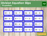 Division Equation Slips - color coded