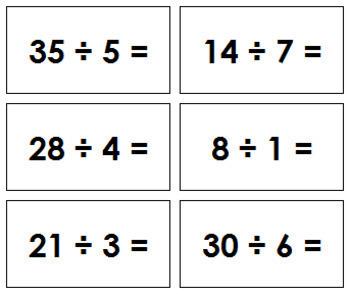 Division Equation Slips