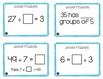 Division Equations Task Cards for 3rd Grade