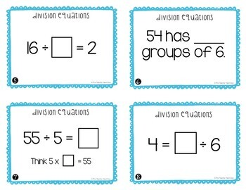 Division Equations Task Cards for 3rd Grade   Division Facts