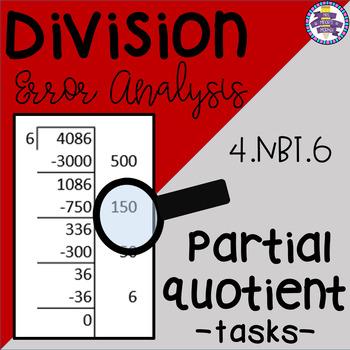 Division Error Analysis: Partial Quotients {CCSS 4.NBT.6}