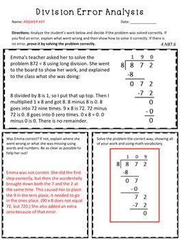 Division Error Analysis: Standard Algorithm / Long Division {CCSS 4.NBT.6}