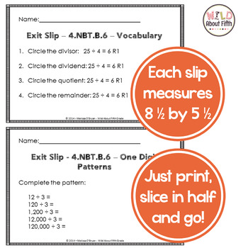 Division Exit Slips - 4th Grade