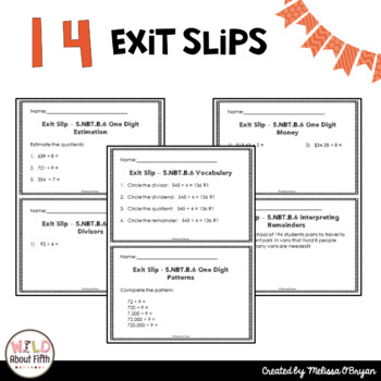 Division Exit Ticket Slips 5th Grade