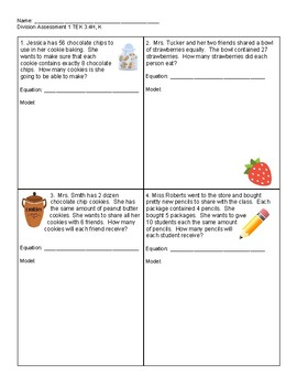 Division Exit Tickets and Assessments TEK 3.4H,K