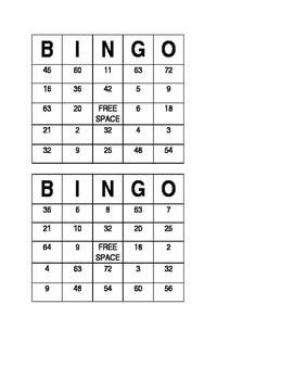 Division Fact Bingo