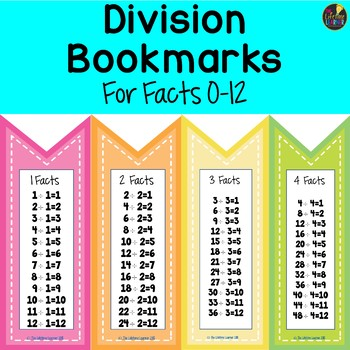 Division Fact Bookmarks