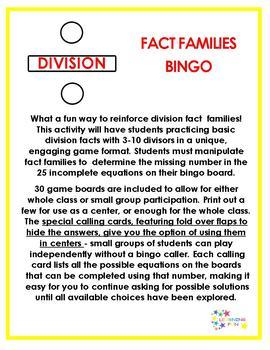 Division Fact Families Bingo
