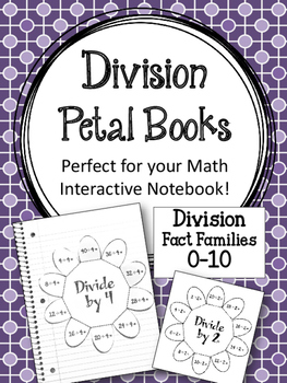 Division Fact Family Petal Books. Foldables. Math Interact