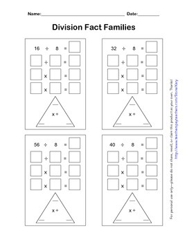Division Fact Family Practice Packet