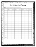 Division Fact Fluency Student Tracker