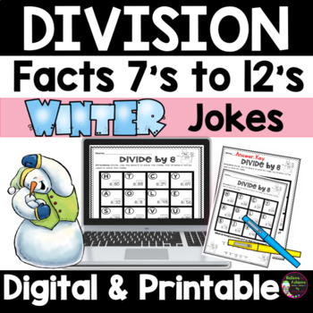 Division Fact Practice 7's to 12's with Winter Jokes