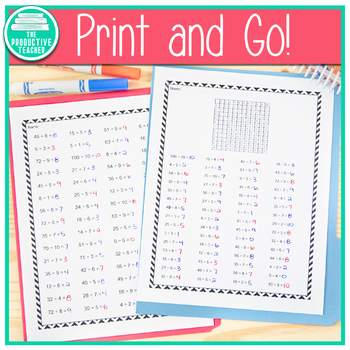 Division Fact Practice Up to 100