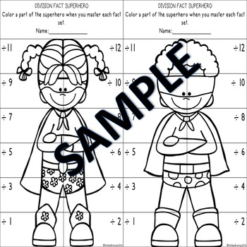 Division Fact Superhero-Fact tracking system - flash cards practice sheets