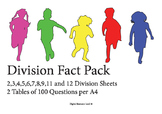 Division Fact Worksheets (2,3,4,5,6,7,8,9,11/12) 2 Per page Pack