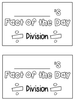 Division Strategies- Fact of the Day Book