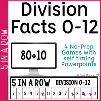 Division Facts 0-10 5 in a Row: 3 No Prep Games & Powerpoints