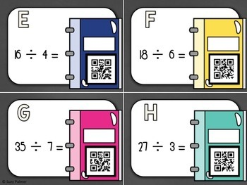 Division Facts (1 Digit Divisor) Task Cards for Big Kids with QR Codes