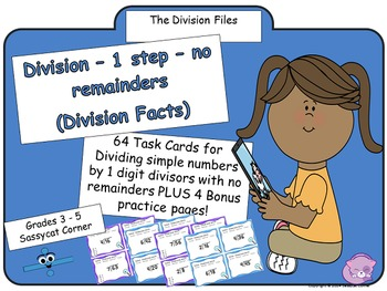 Division Facts - 1 step division with no remainders task cards