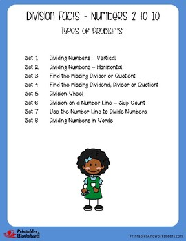 Division Facts Assessment - Dividing by 2 to 10 - Worksheets with Answer Keys