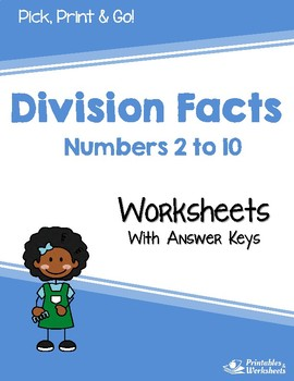 Division Facts Practice - Dividing by 2 to 10 - Worksheets
