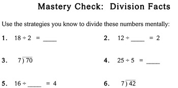 Division Facts, 3rd grade - Individualized Math - worksheets