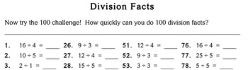 Division Facts, 3rd grade - worksheets - Individualized Math