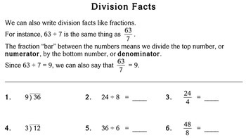 Division Facts, 4th grade - Individualized Math - worksheets
