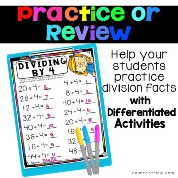 Division Facts Activities Dividing by 4