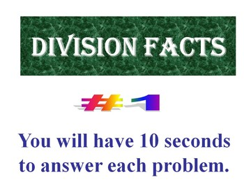 Division Facts BUNDLE of 10  (PowerPoint Warm Ups or Quizzes)